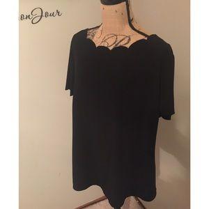 Black short sleeve blouse size XL